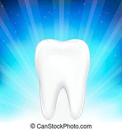 sfondo blu, dente