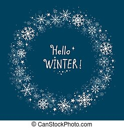sfondo blu, inverno, cornice, con, fiocchi neve