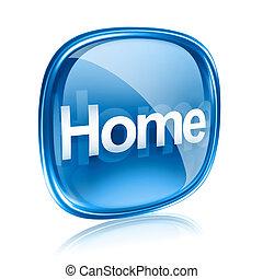 sfondo blu, isolato, vetro, casa, bianco, icona