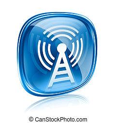 sfondo blu, isolato, vetro, torre, wi-fi, bianco, icona