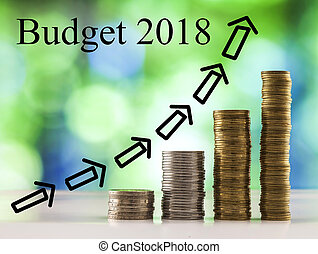 sfondo blu, monete, budget, sfavillante, bokeh, verde, 2018, parole, crescente, accatastare