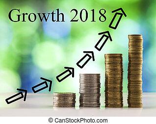 sfondo blu, monete, sfavillante, bokeh, crescita, verde, 2018, parole, crescente, accatastare