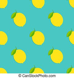 sfondo blu, pattern., seamless, limoni