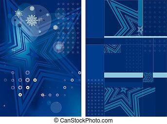 sfondo blu, per, schede natale