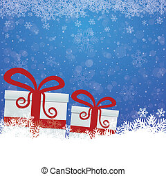 sfondo blu, regalo, neve, stelle, bianco