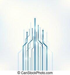 sfondo blu, scienza, astratto, freccia, geometrico, tecnologia
