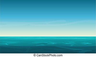 sfondo blu, sky., chiaro, oceano, vettore, mare, cartone animato, vuoto