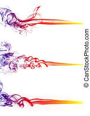 sfondo colorato, isolato, collezione, fumo, bianco