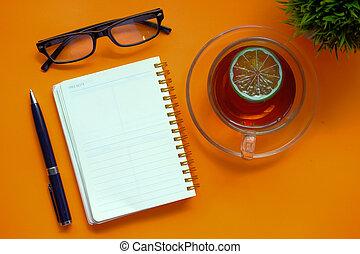 sfondo colore, tazza, penna, aperto, blocco note, tè
