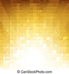 sfondo dorato, con, sunburst, e, stelle