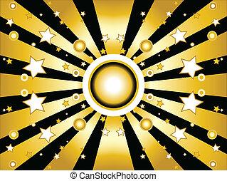 sfondo dorato, stelle, sole