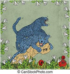 sfondo, foglie, giocano., corniche, colorate, couronne, art, lottano, duper, vendange, carta, colore, pantere, pop, effetto, collare, fiori, e, acquarello., felini
