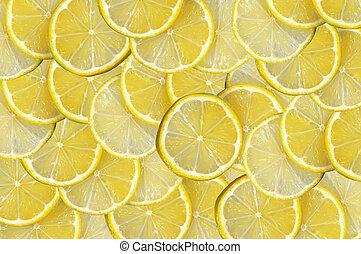 sfondo giallo, con, citrus-fruit, di, fette limone