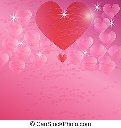 sfondo rosa, astratto, con, cuori