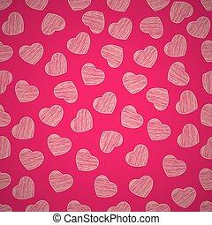 sfondo rosa, valentine, dipinto, modello, seamless, day., fondo., scrawl., vector., cuori, tuo, design.
