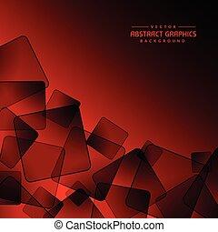 sfondo rosso, con, astratto, nero, quadrato, forme