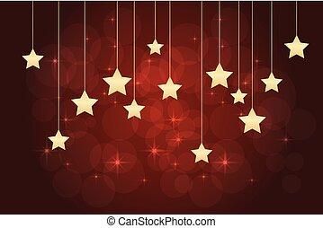 sfondo rosso, con, stelle