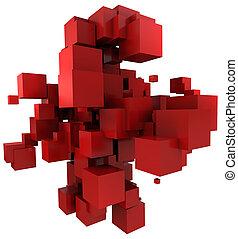 sfondo rosso, cubico