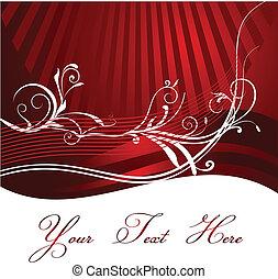 sfondo rosso, disegno, floreale