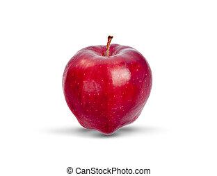 sfondo rosso, mela, bianco