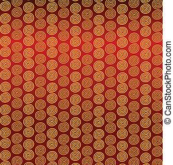 sfondo rosso, spirali