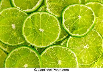 sfondo verde, con, calce, fette
