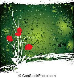 Fiore Primaverile Sfondo Verde Fiore Primavera Illustrazione