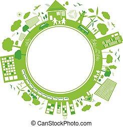 sfondo verde, concetti, disegno, bianco, pensare