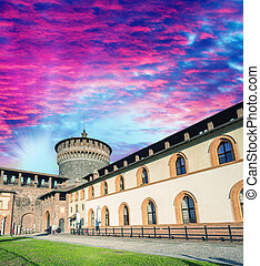 Sforza castle on a beautiful summer day, Milan
