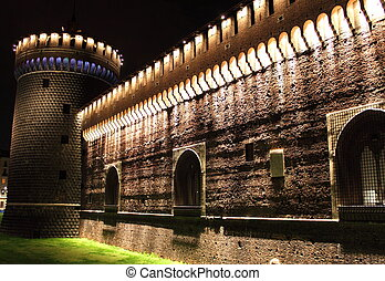 Sforzesco castle by night