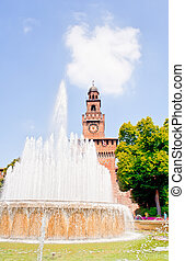 Sforzesco castle, Milan - Fountain next to the Sforzesco...