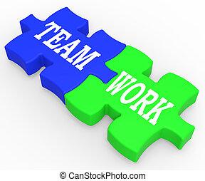 sforzo, lavoro squadra, combinato, cooperazione, mostra
