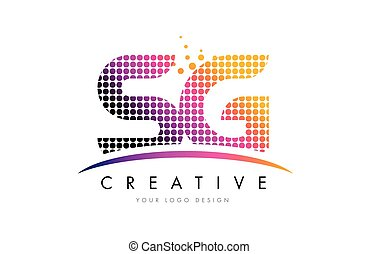 SG S G Letter Logo Design with Magenta Dots and Swoosh - SG...