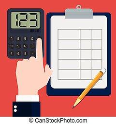 sg171004a-Businessmen hand calculating-Vector flat design