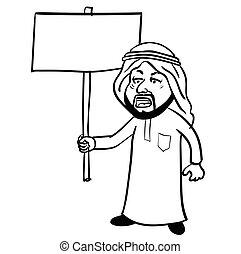 sg171005-Cartoon Islam Arab man Protestor-Vector Sketch
