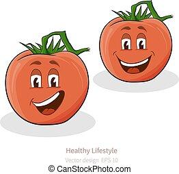 sguardo, cartone animato, pomodori, faccia