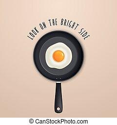 sguardo, citazione, -, luminoso, sfondo nero, uovo fritto,...