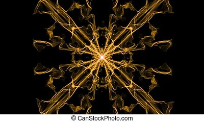 Sguare ornament, live fractal patterns with light particles...