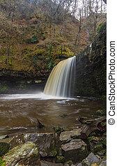 Sgwd Gwladus waterfall. On the river Afon Pyrddin South Wales, UK winter.