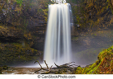 Sgwd Henrhyd waterfall. Highest waterfall in South Wales, UK winter.