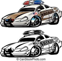 shérif, voiture, illustration, vecteur, muscle, dessin animé