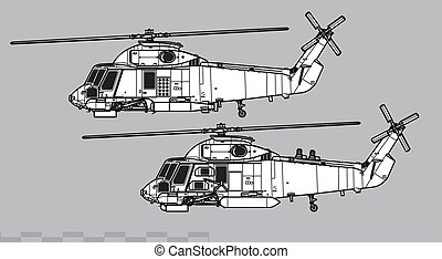 sh-2, dessin, seasprite., kaman, contour, vecteur