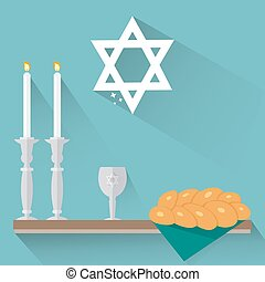 Shabbat candles, kiddush cup and challah in flat style.