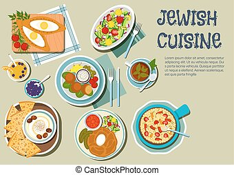 Shabbat day dishes of jewish cuisine flat icon - Shabbat day...