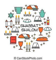 Shabbat shalom greeting card. Star of David, candles,...