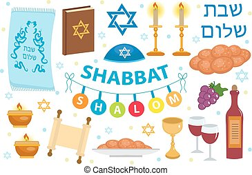 Shabbat Shalom icon set, flat, cartoon style. Collection of...