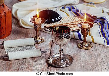 Shabbat Shalom - Traditional Jewish ritual matzah, bread, -...