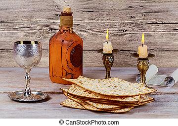 Shabbat Shalom - Traditional Jewish Sabbath ritual matzah wine.