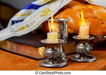 Shabbat Shalom Traditional Jewish Sabbath ritual challah...