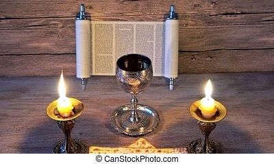 Shabbat Shalom Traditional Jewish Sabbath ritual matzot...